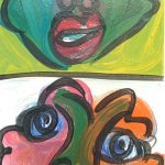 Faces Acrylic on board 300