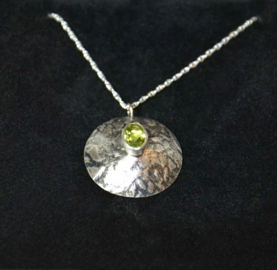 Lace Patterned, Oxidised, Domed Pendant Necklace