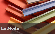 La Moda is an exciting range of distressed leafed moldings and colour blocks.