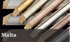 Malta is a range of six colours from gold, champagne, silver &ochre, silver & orange, silver &red, silver & black and silver & blue. This moulding is PEFC certified.