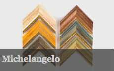 Michelangelo has an aged antiqued look that will suit all types of artwork. This has two scoop profiles in six colours - Ivory, red, yellow, green, blue and black. All have a gold edge.