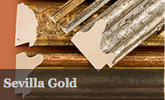 Sevilla Gold is a range of antiqued and distressed gold and red moldings, featuring three decorative and two plain profiles.
