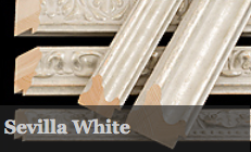 Sevilla White is a range of antiqued and distressed white and silver mouldings, featuring three decorative and two plain profiles.