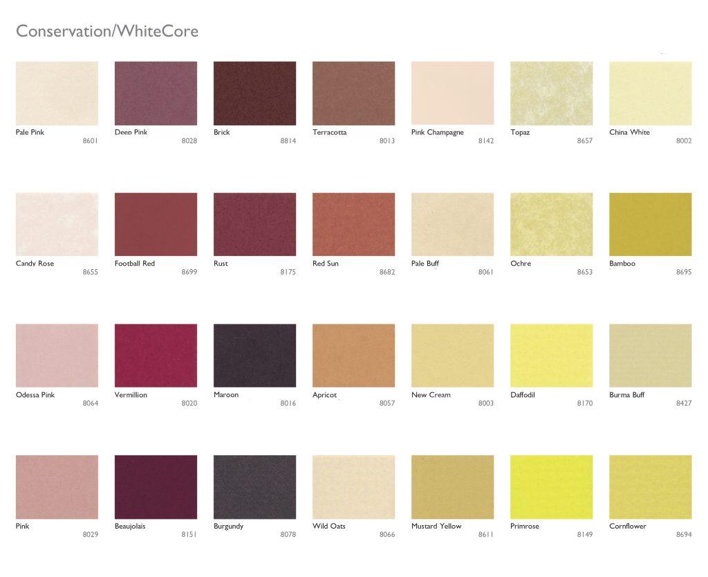 mount board colour chart