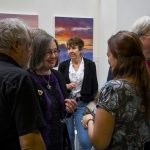 Visitors to exhibition space