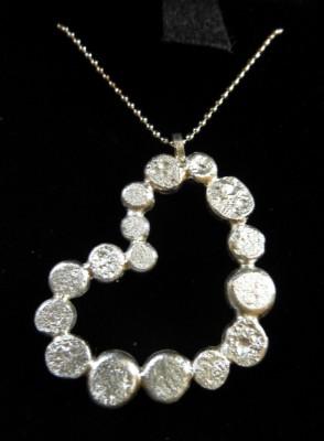 Item 13 Silver heart globule necklace