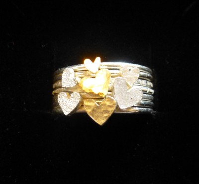 Item 15 Silver and gold heart stack ring