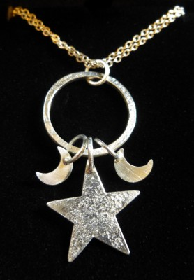 Item 24 silver moon stars hoop necklace
