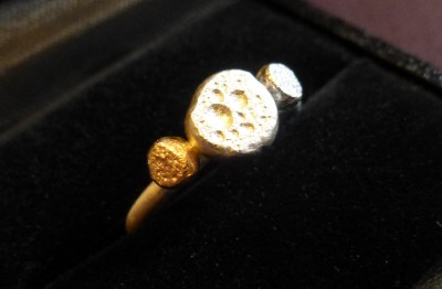 Item 33 Silver and gold triple globule ring