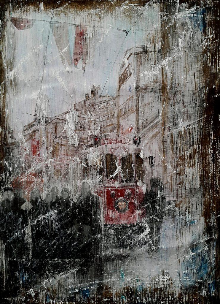 Red tram in Istanbul