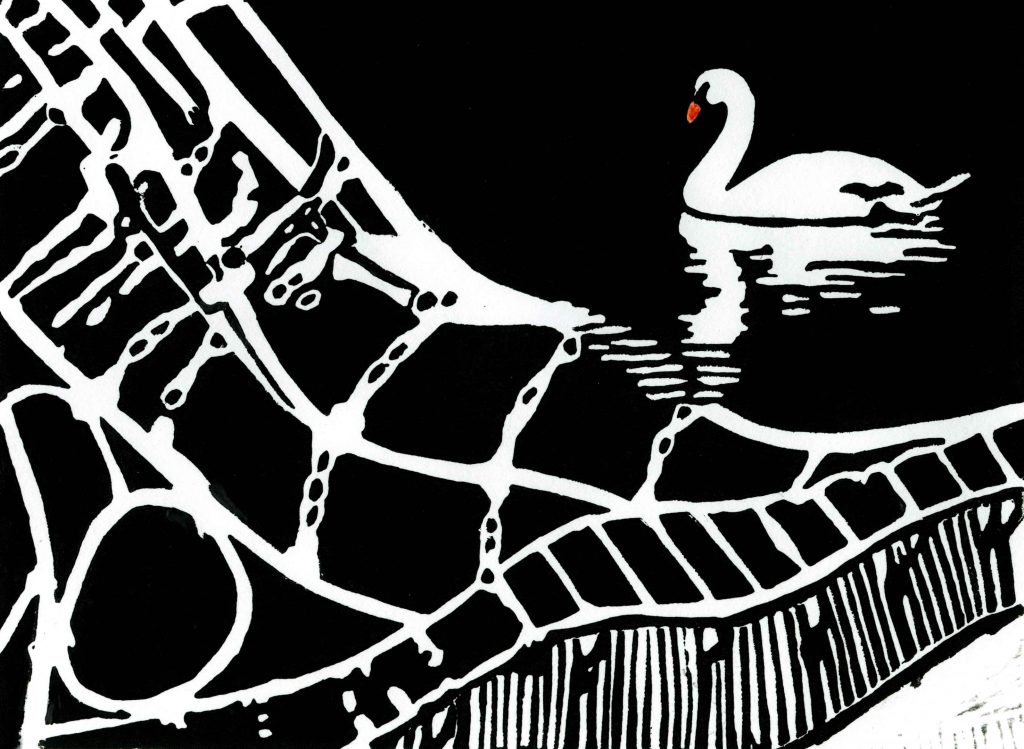 Swan printmaking