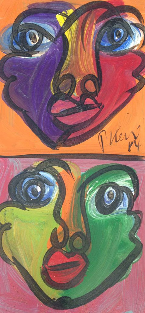 Abstract Faces, oil on cable 300