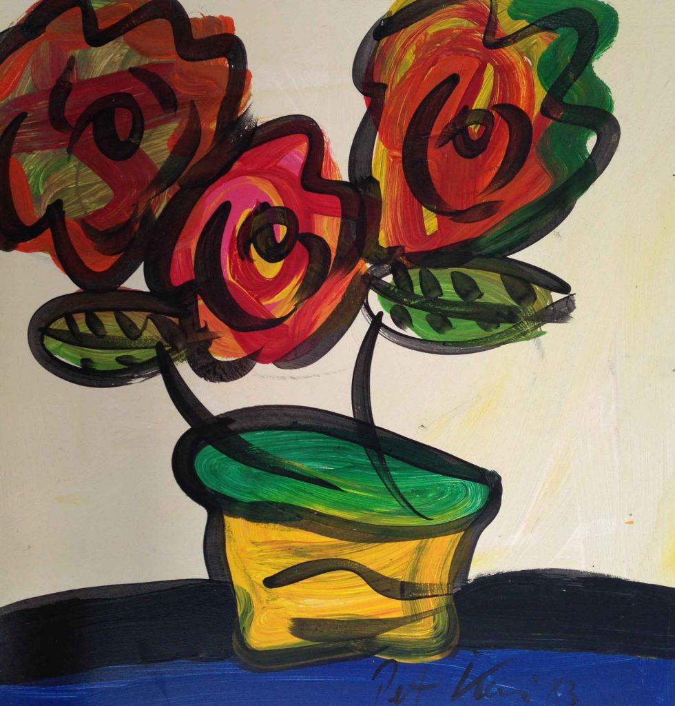 Basket of Flowers, OIl on board 325
