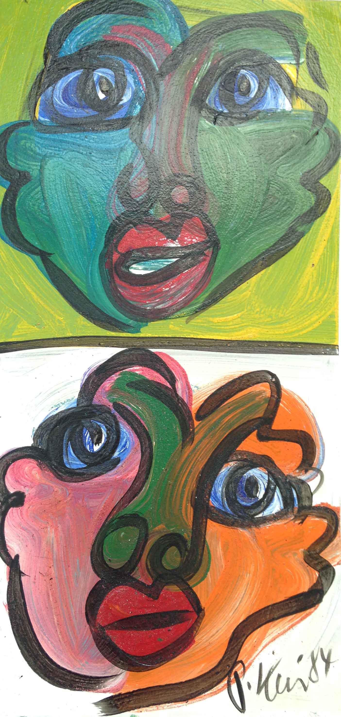 Faces Acrylic on board 300