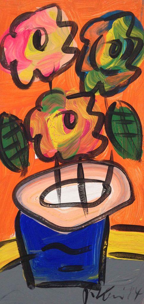 Flowers in Orange, Oil on board 300