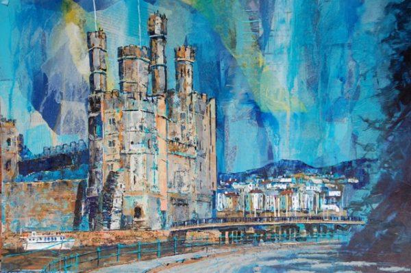 castle in village by sea print