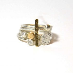 Sterling silver and gold bar five ring stacking set
