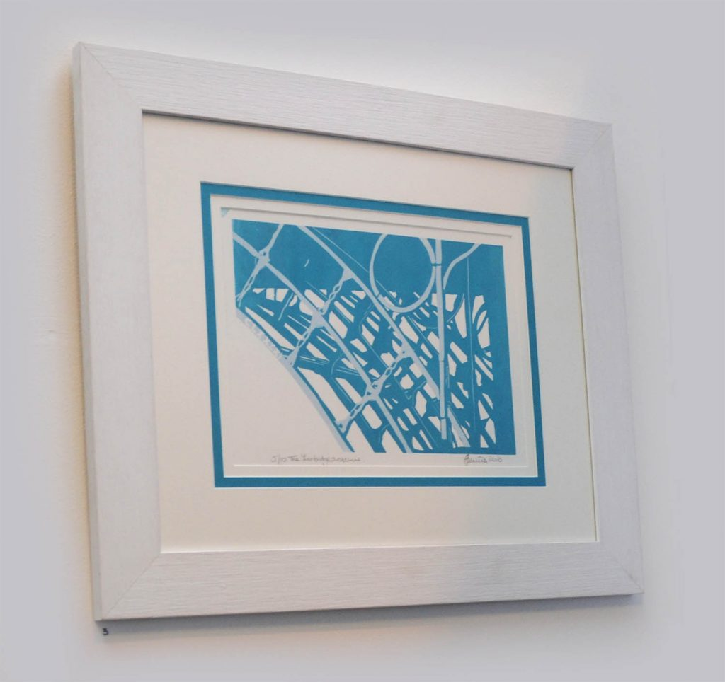 A framed art piece of a section of Ironbridge, created using printing