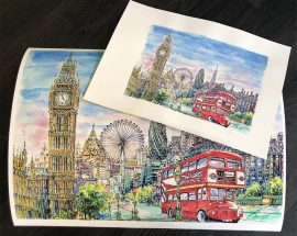 Tony Morris Artwork - London Bus & Cityscape