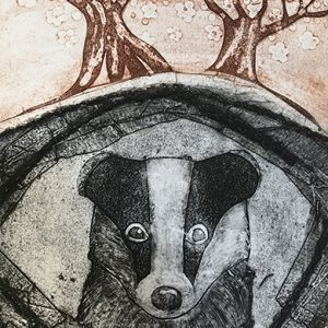 "Emma Kirkman Collagraph print ""Badger in Den"""