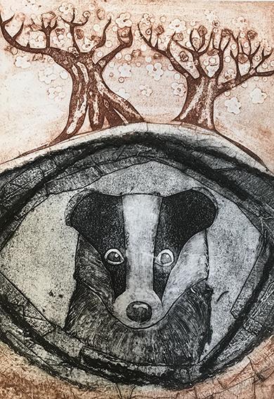 "Emma Kirkman Collagraph print ""Badger in Den"""