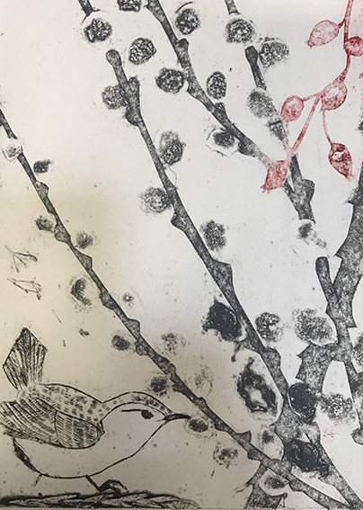 Emma Kirkmans Collograph 'February Wren and Pussy willow'