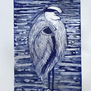 Emma Kirkman 'Heron on the Solway Firth' Aquatint print