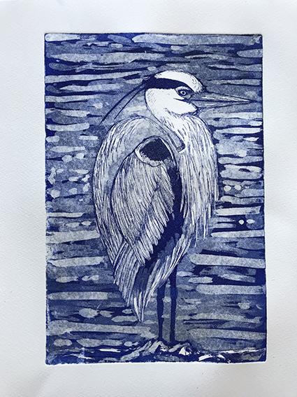 Emma Kirkman 'Heron on the Solway Firth' Aquatint print