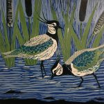 """Emma Kirkman Lino Cut """" Lapwings on the Solway"""""""
