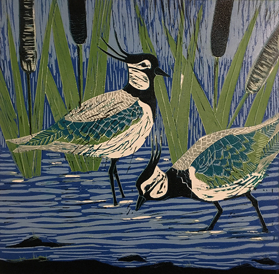 "Emma Kirkman Lino Cut "" Lapwings on the Solway"""