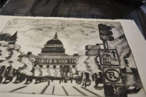 Printing a drypoint plate