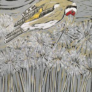 """Emma Kirkman Lino Cut Print """" Goldfinch"""""""