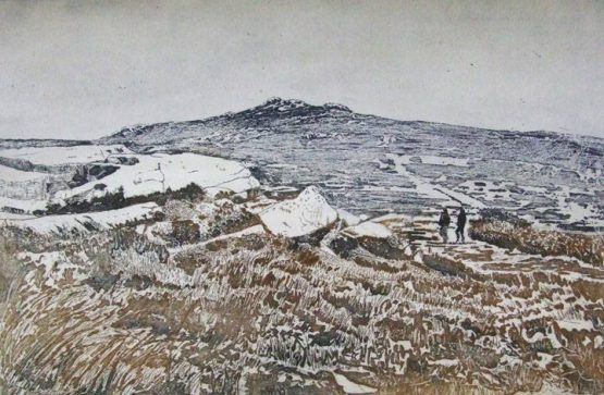 To the Summit by Linda Neville Collograph Print