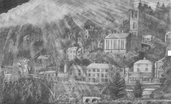 Dave Gunning Pencil on Paper - Ironbridge in Spring Rain