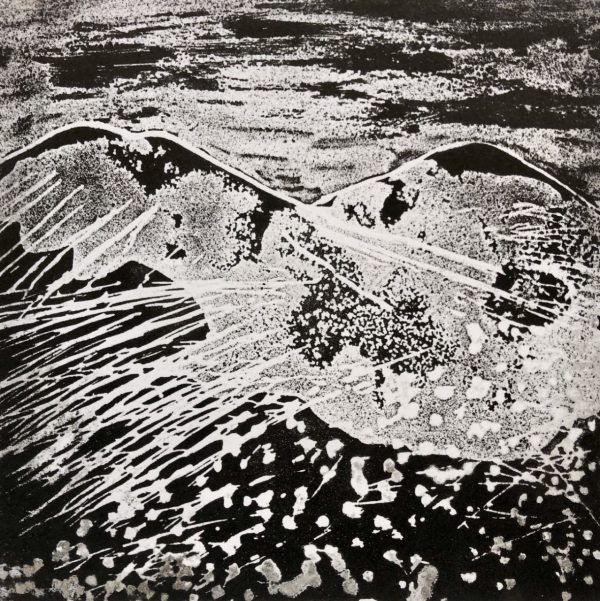 The Peaks Etched Lino by Linda Nevill