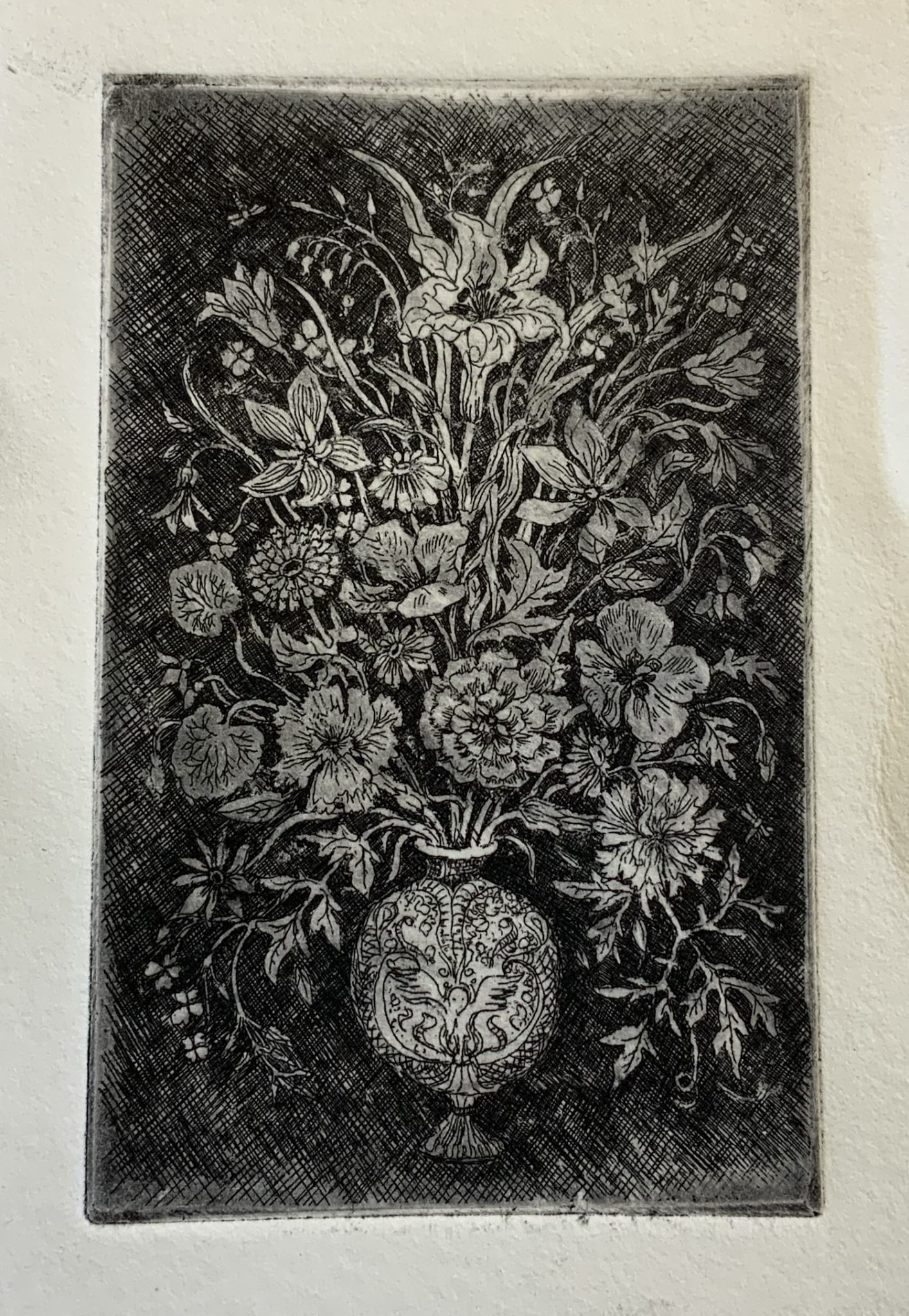 Print from Etching printing press. Etching