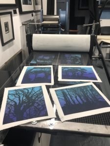 Jenny Gunning printing her new etchings