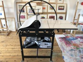 Etching press in loft studio