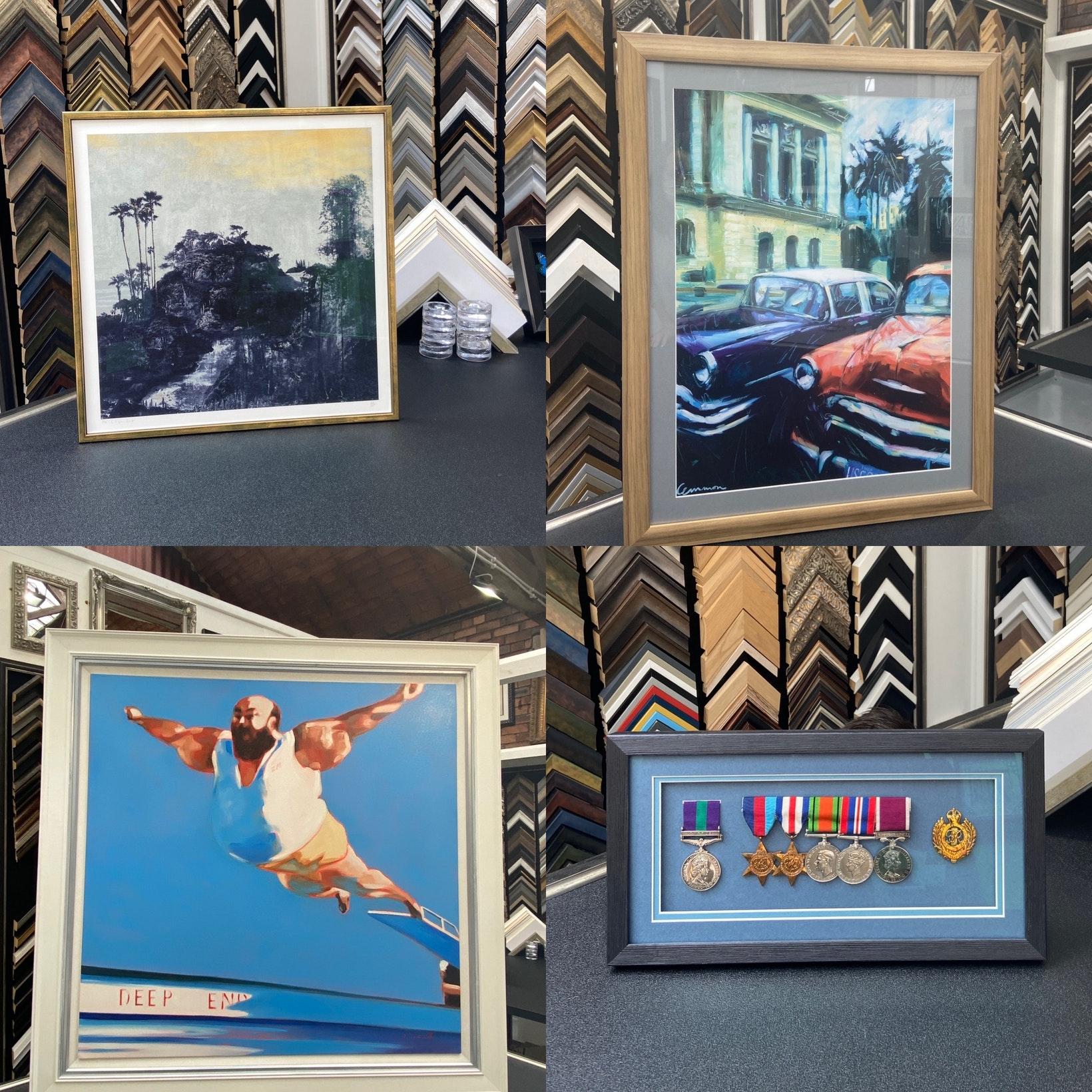 Finished Framing Jobs at Ironbridge Fine Arts Framing Workshop