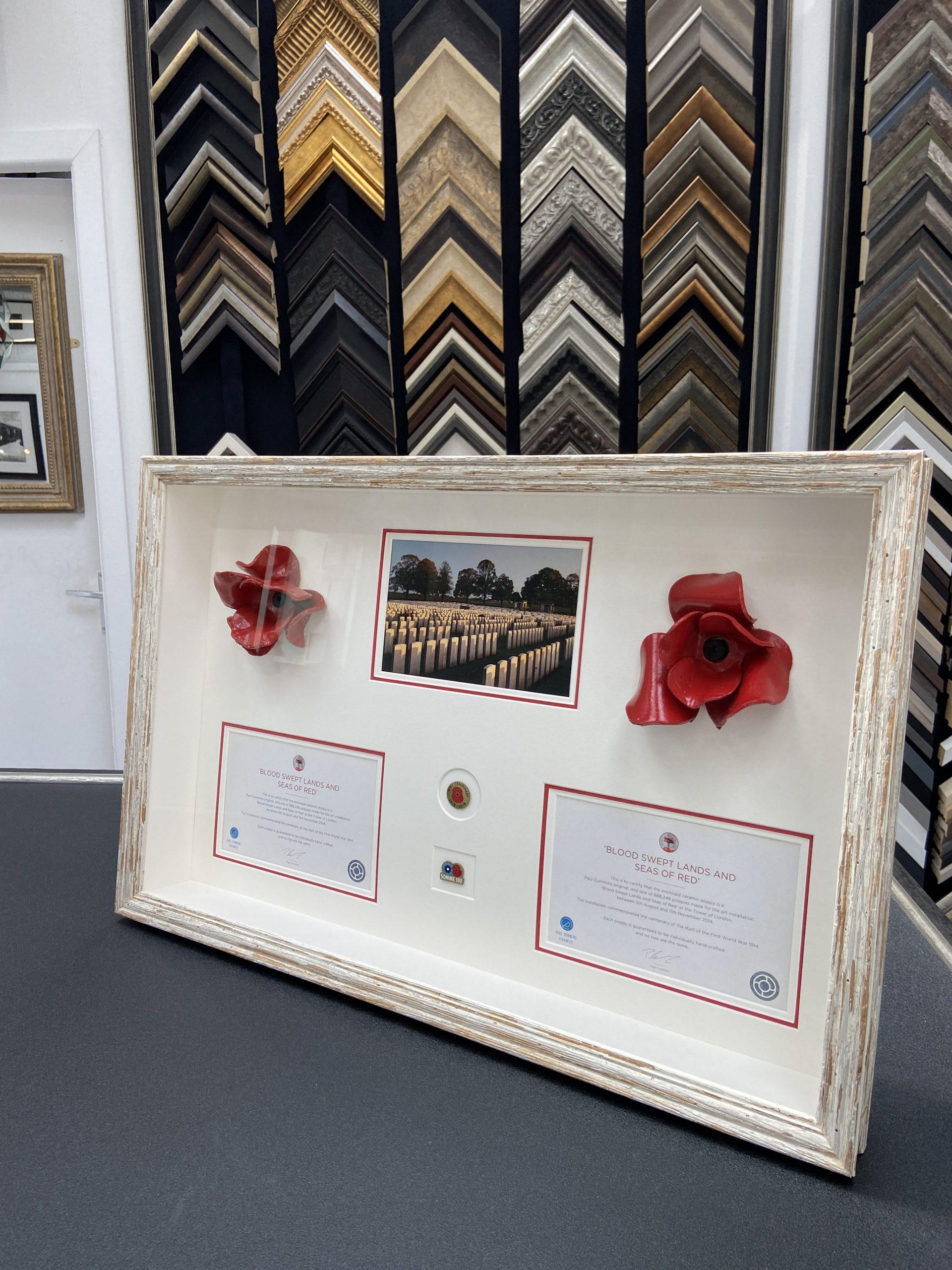 Ceramic Poppies framed in Larson Juhl Brittany Moulding