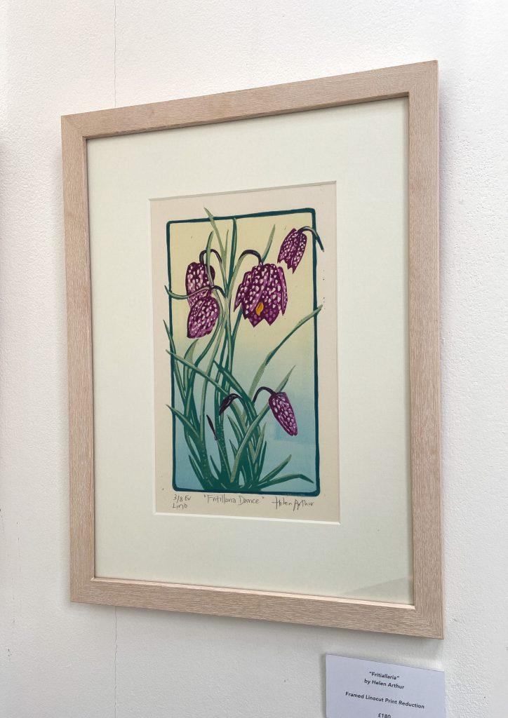 Fritiallaria Dance Helen Arthur Fritiallia Dance Linocut Print Reduction