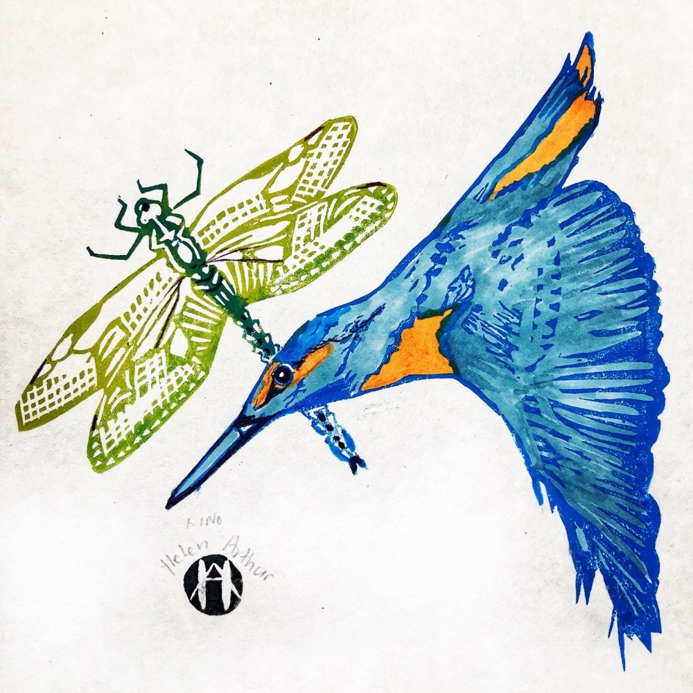 Kingfisher and Emperor Dragonfly by Helen Arthur